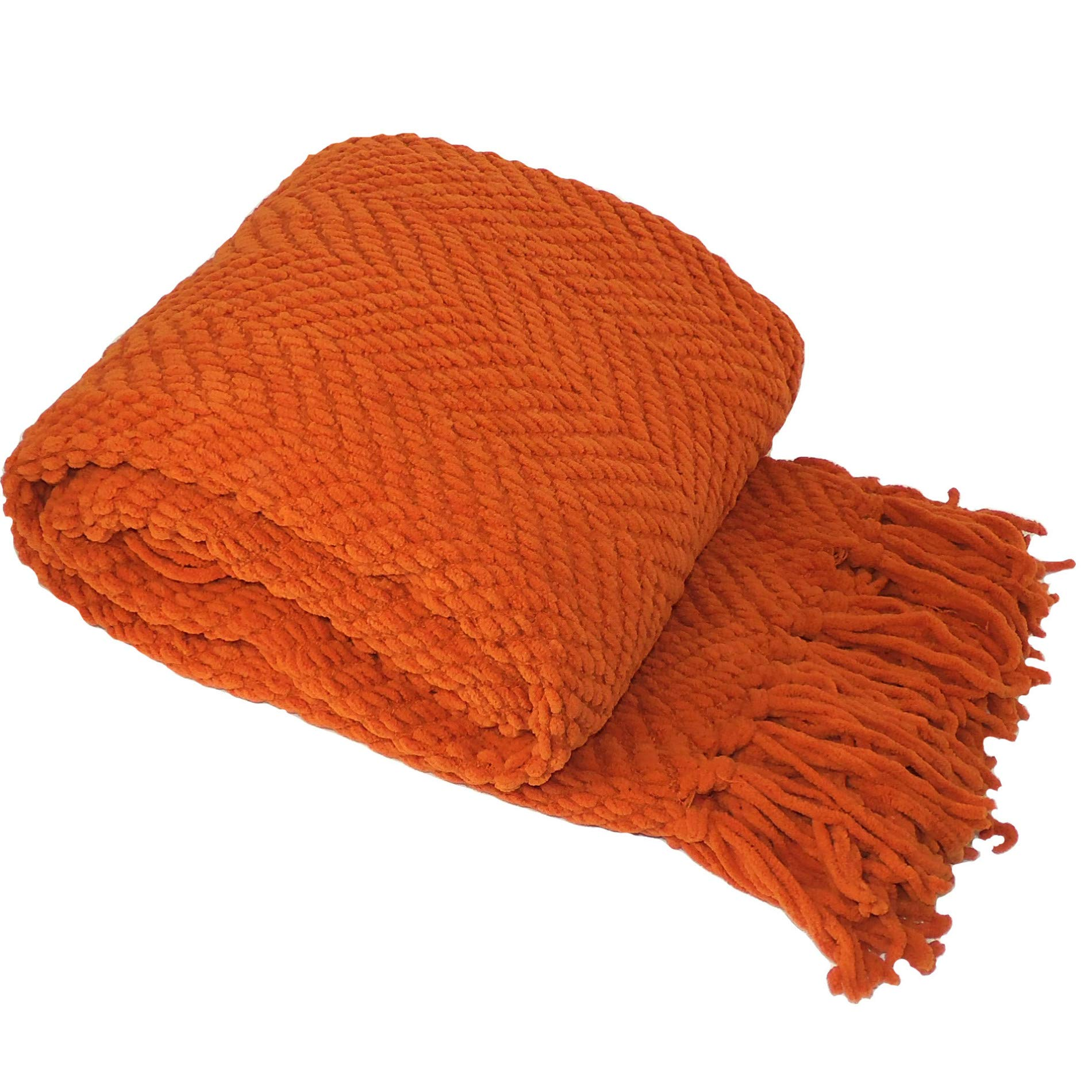 Home Soft Things Boon Knitted Tweed Throw Couch Cover Blanket, 50 x 60, Burnt Orange