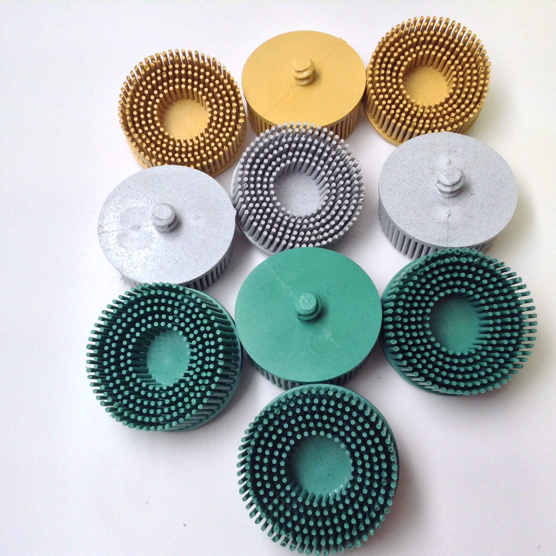10pc Abrasive Bristle Disc 2'' Assortment - (4) 50 Grit, (3) 80 Grit, (3) 120 Grit