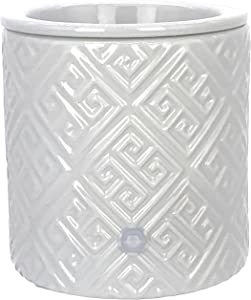 Grey Meander Ceramic Candle Warmer Electric with Safety Timer   Automatic Plug in Fragrance Warmer for Scented Wax Melts, Cubes, Tarts   Air Freshener Set for Home Décor, Office, and Gifts