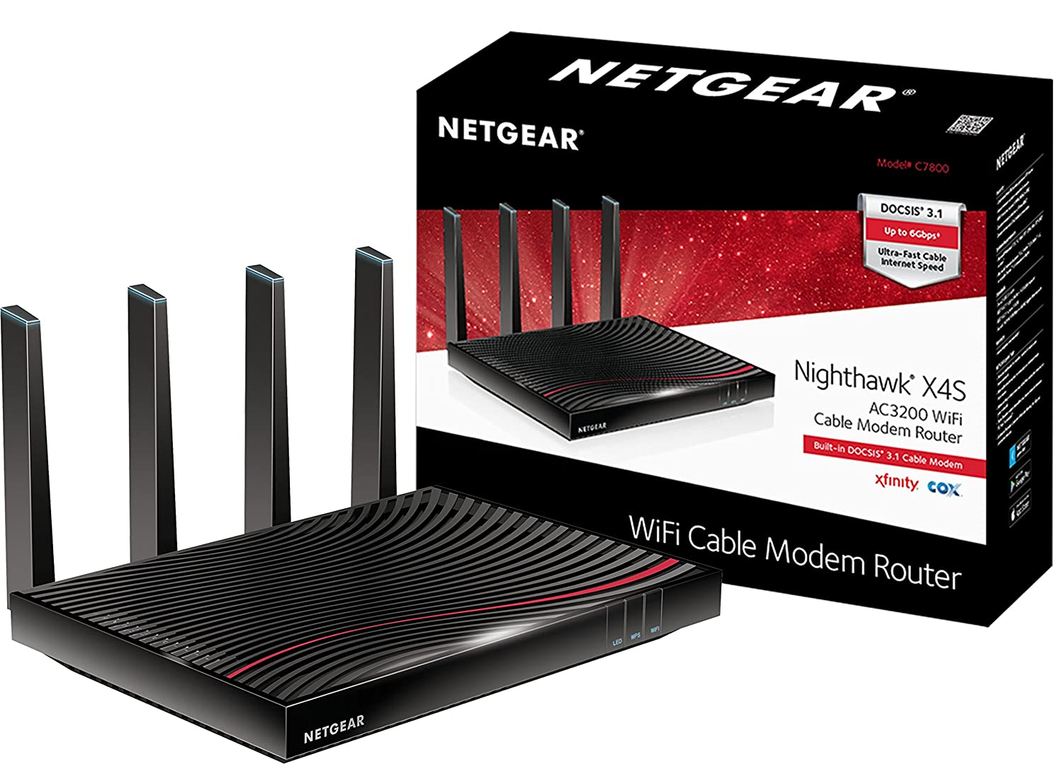 Netgear Nighthawk X4s Docsis 31 Ultra High Speed Wifi Xfinity Cable Modem Wiring Diagram Router Combo Compatible With From Comcast Cox Gig