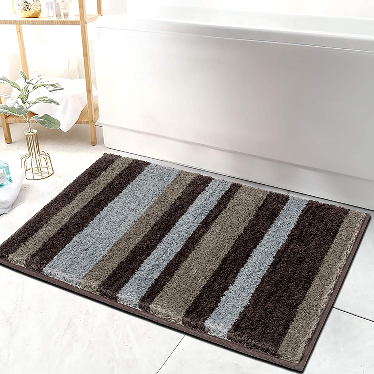 HEBE Non-Slip Bathroom Rug Shag Shower Mat Machine-Washable Bath Mats with Water Absorbent Soft Microfibers (26x18 inch)