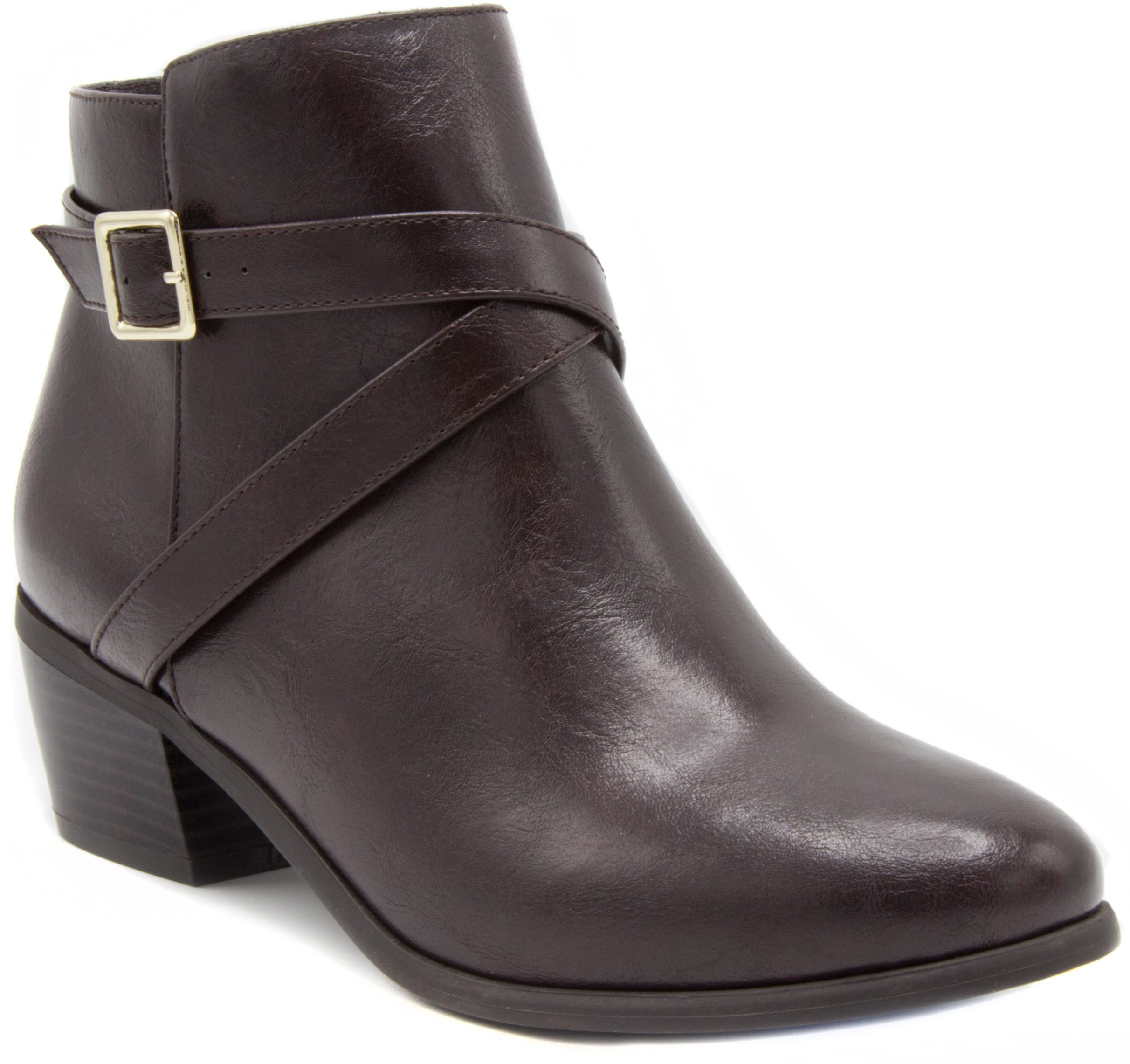 London Fog Womens Halifax Heeled Ankle Booties Brown 6.5 by London Fog