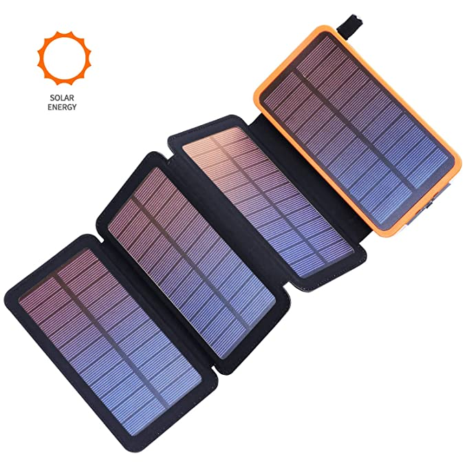 Solar Charger 20000mAh, F.DORLA Portable Solar Power Bank | Dual USB Output | 4 Solar Panels | LED Flashlight | Waterproof Solar Powered Phone Charger ...