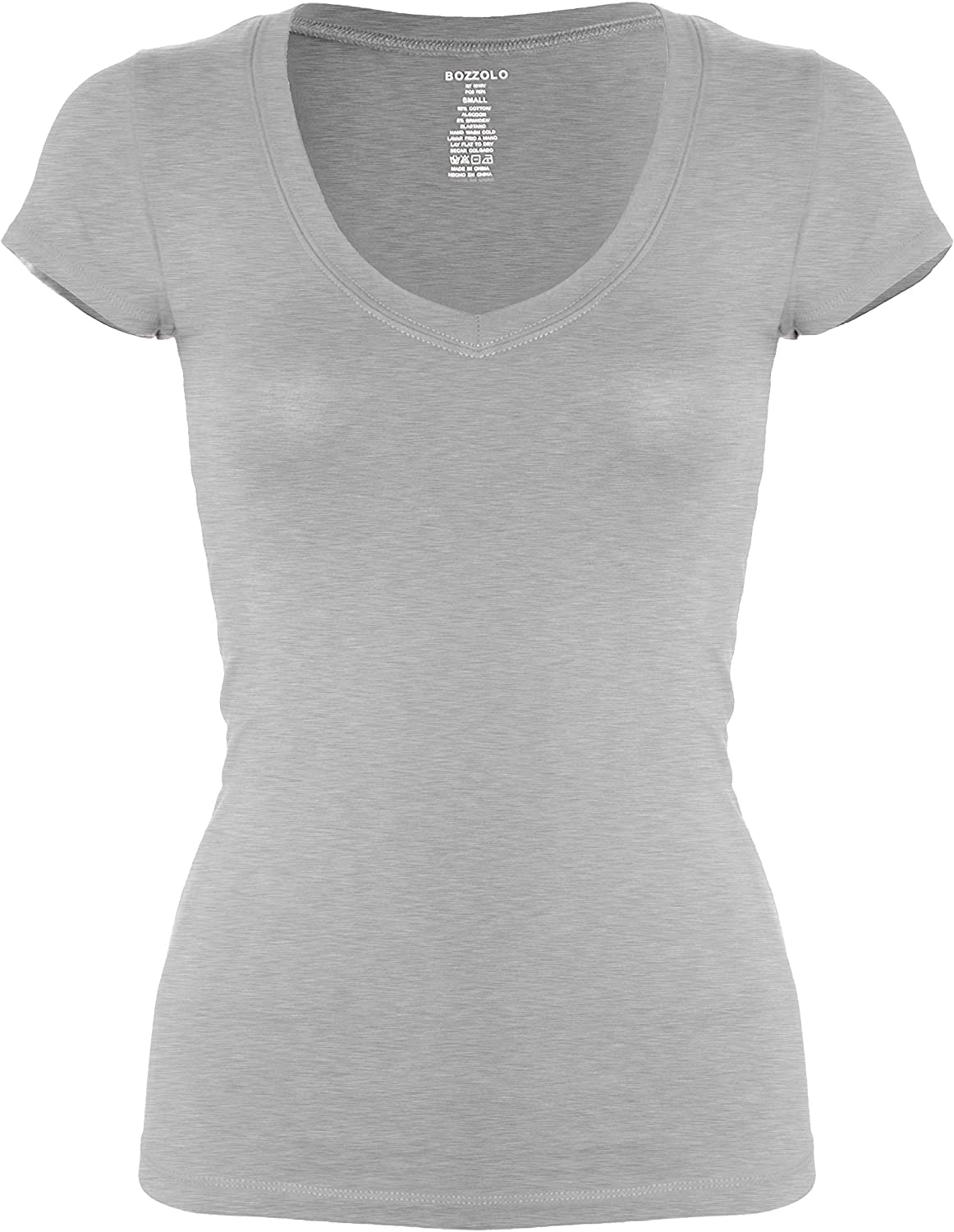 Bozzolo Womens Plain Basic V Neck Short Sleeve Cotton T-Shirts