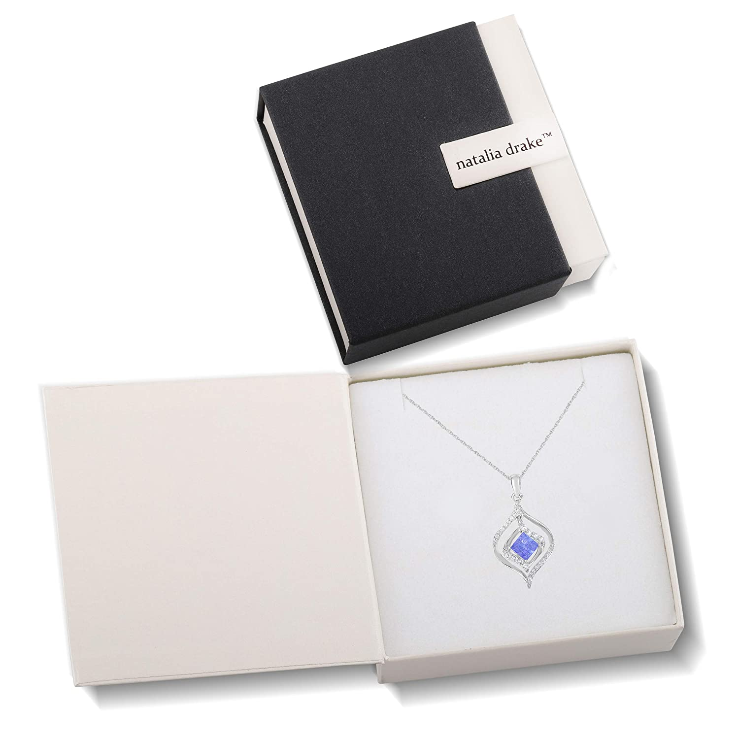 NATALIA DRAKE Princess Blue Tanzanite /& White Topaz Pendant Necklace