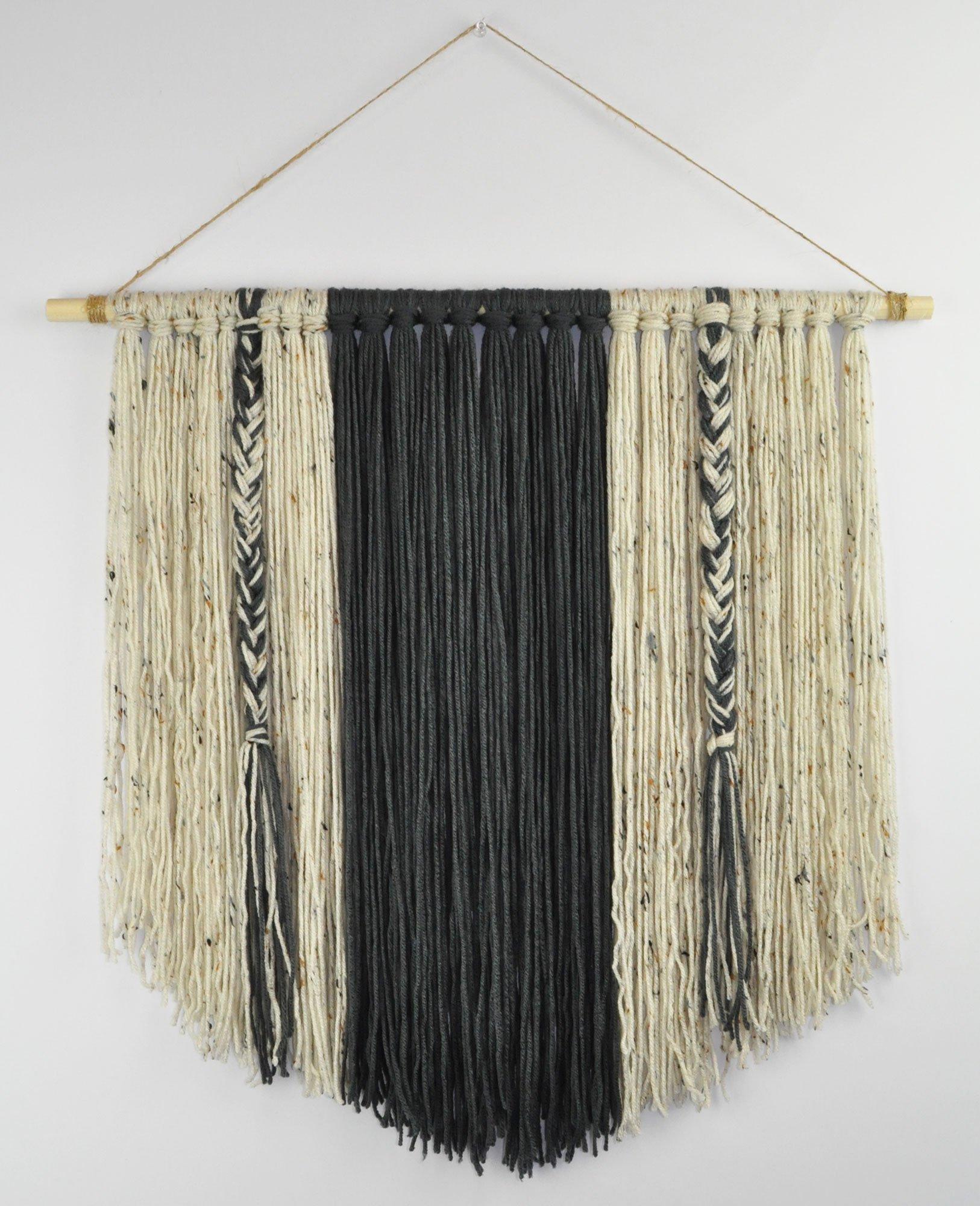 Boho Yarn Wall Hanging Bohemian Minimalist Tapestry Art Decor Statement Piece - GRAY 24 X 24''
