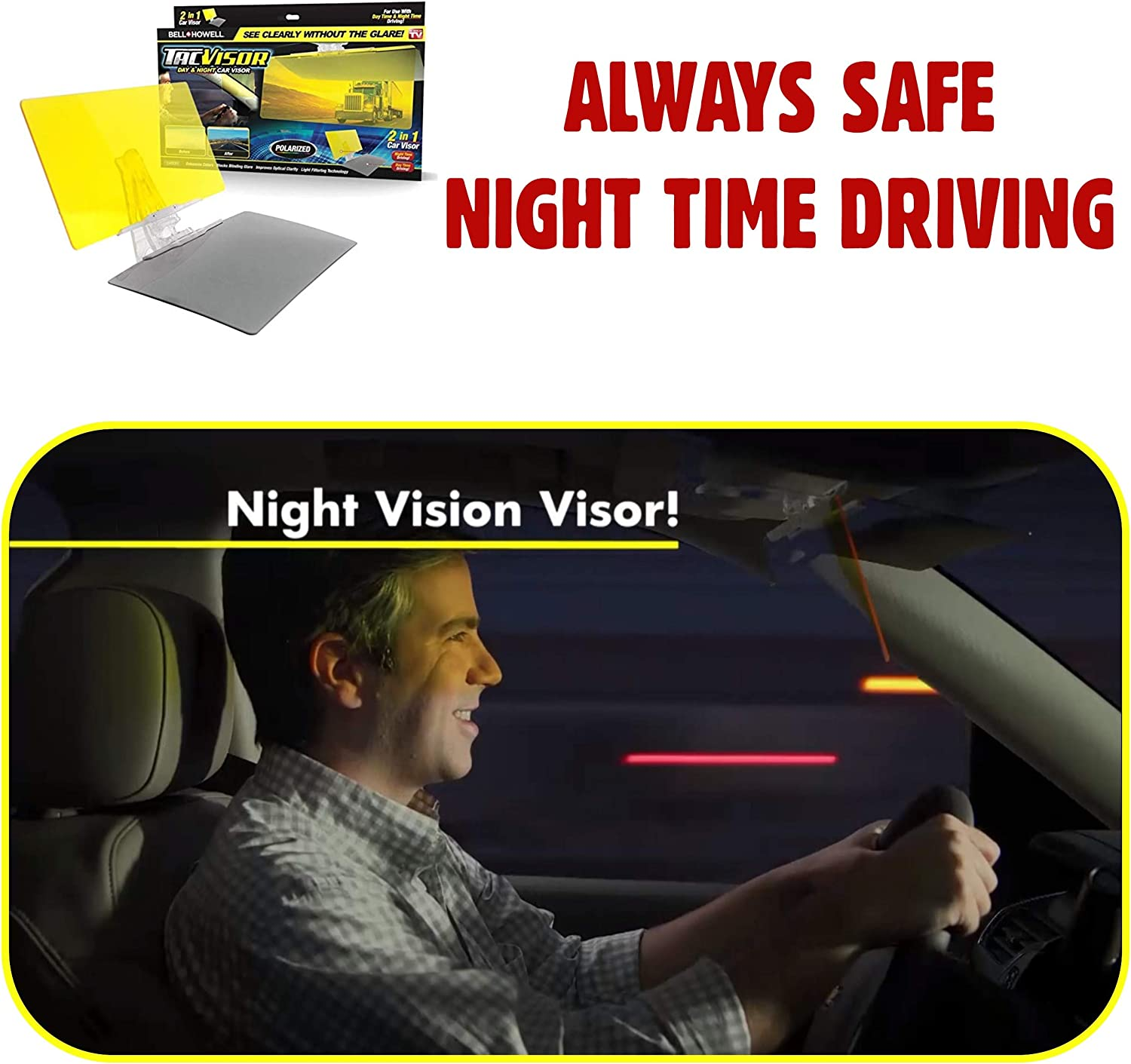 Howell TACVISOR for Day and Night Bell Anti-Glare Car Visor UV-Filtering//Protection As Seen On TV