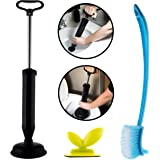 Toilet Plunger Cleaning Combo Set - high pressure for bathtubs, toilets, kitchen sinks, showers | Toilet Bowl Brush | Seat Cover Lifter Toilet Brush and Plunger