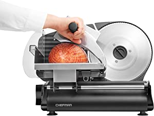 Chefman Electric Deli & Food Slicer Machine for Home Use Slice Meat, Cheese, Bread, Fruit & Vegetables, Adjustable Thickness, Blade, Safe Non-Slip Feet, Easy to Clean, Black/Die Cast Stainless Steel