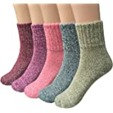 Loritta 5 Pairs Womens Vintage Style Winter Soft Warm Thick Knit Wool Crew Socks