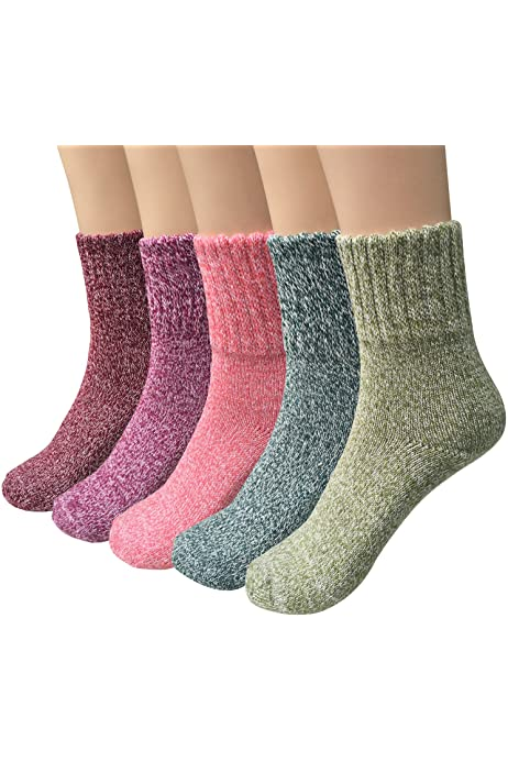 5 Pairs Womens Vintage Style Winter Soft Warm Thick Knit Wool Crew Socks