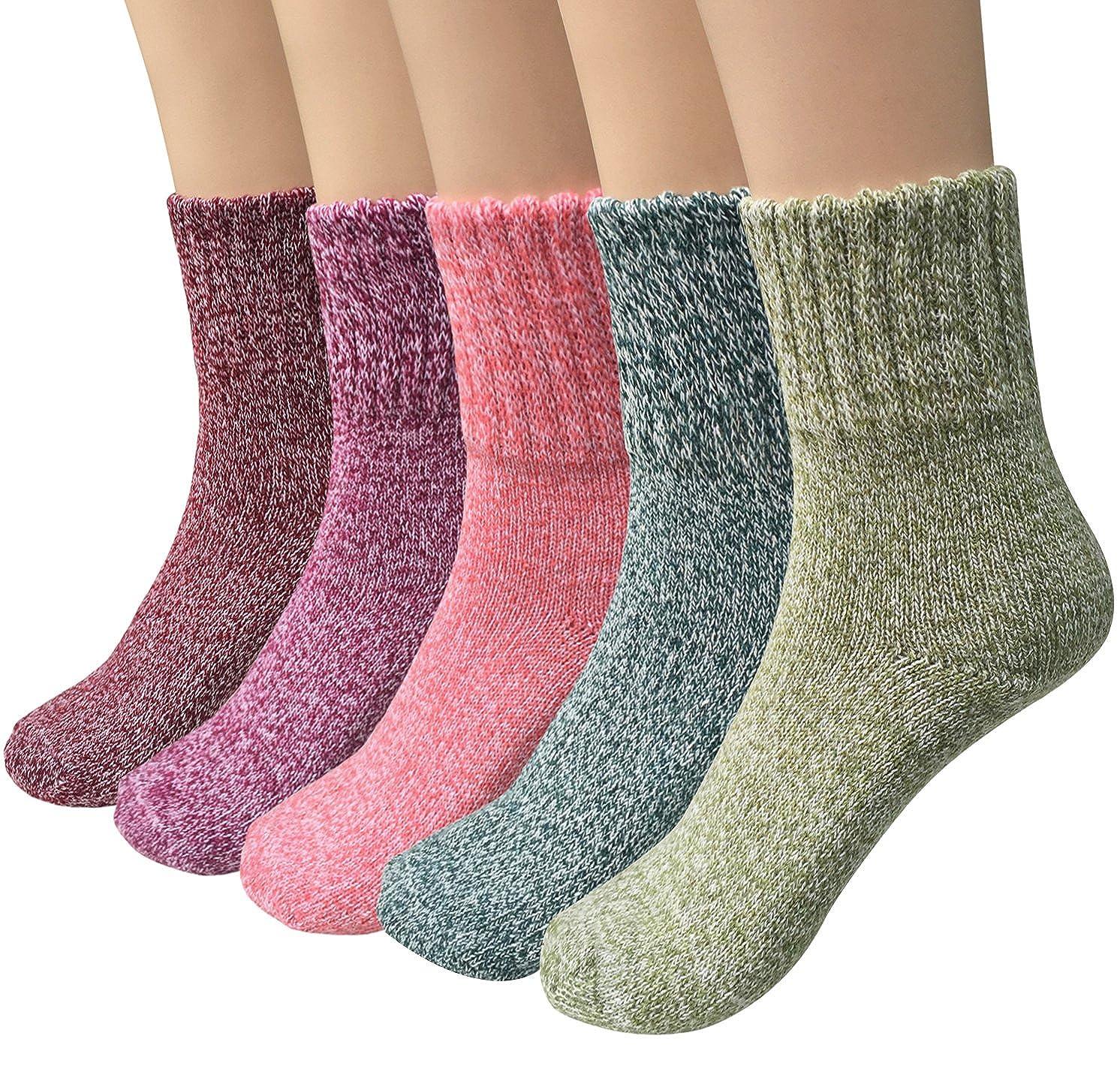 Loritta 5 Pairs Womens Vintage Style Winter Warm Thick Knit Wool Cozy Crew  Socks 03b3807066