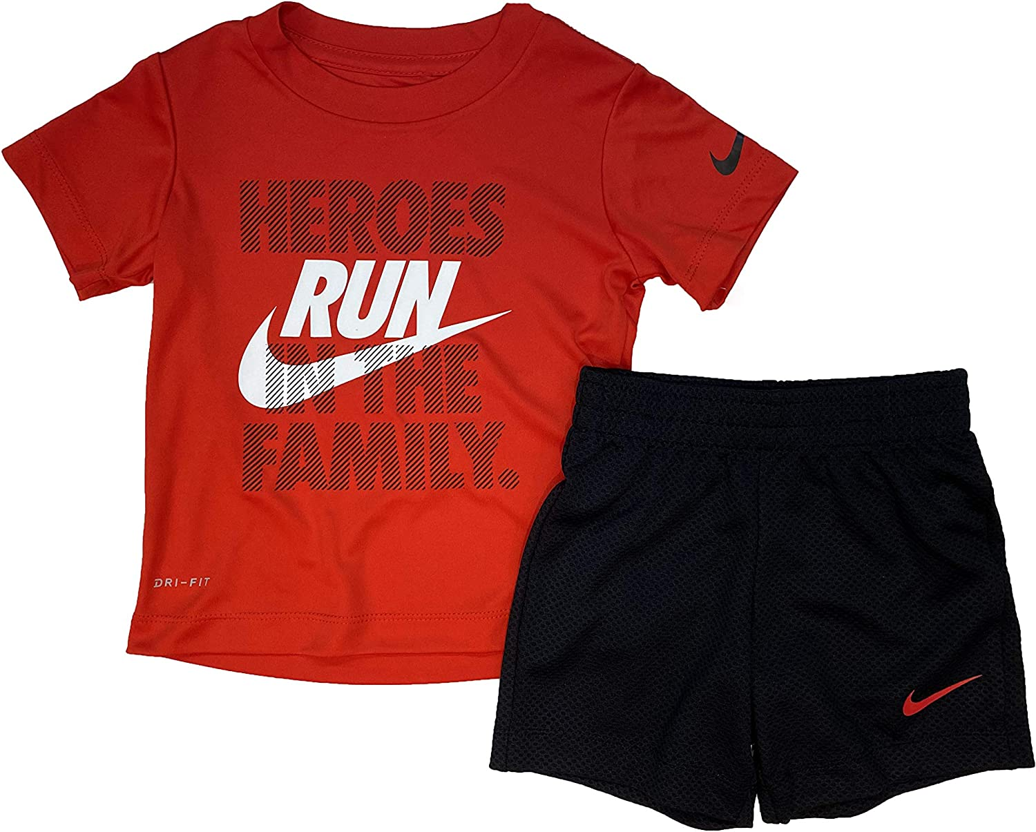 Nike Toddler Boys 2 Piece Shirt and Short Set - Red/Black - 3T