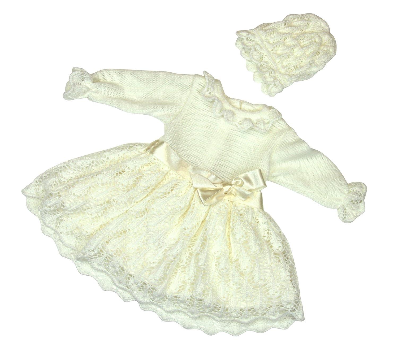 BIMARO Baby Mädchen Taufkleid Ruby Babykleid Creme Beige Kleid Festlich Set Strick Häkellook Mütze Hochzeit Taufe