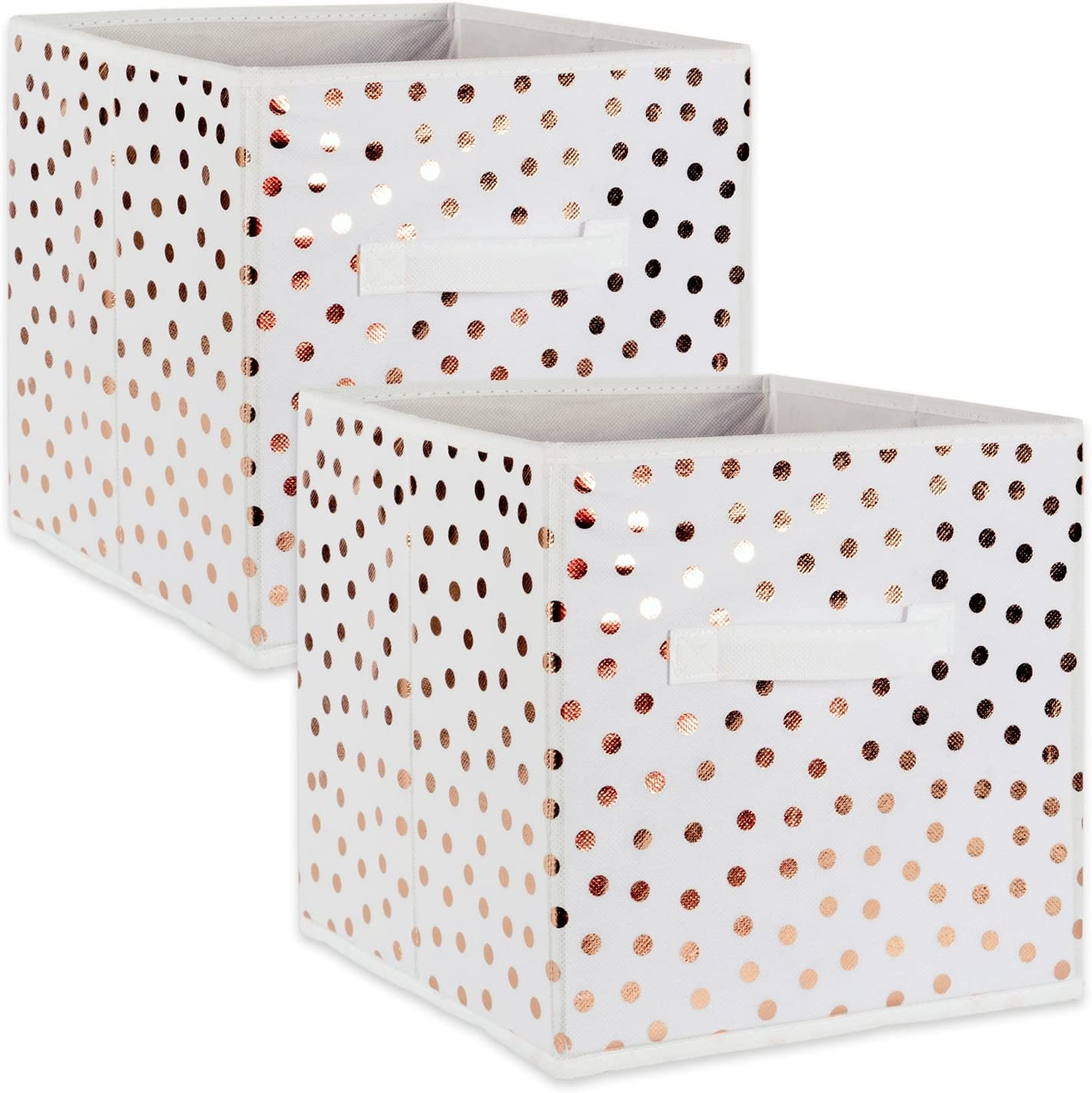 "DII Fabric Storage Bins for Nursery, Offices, & Home Organization, Containers Are Made To Fit Standard Cube Organizers (11x11x11"") White with Copper Dots - Set of 2"