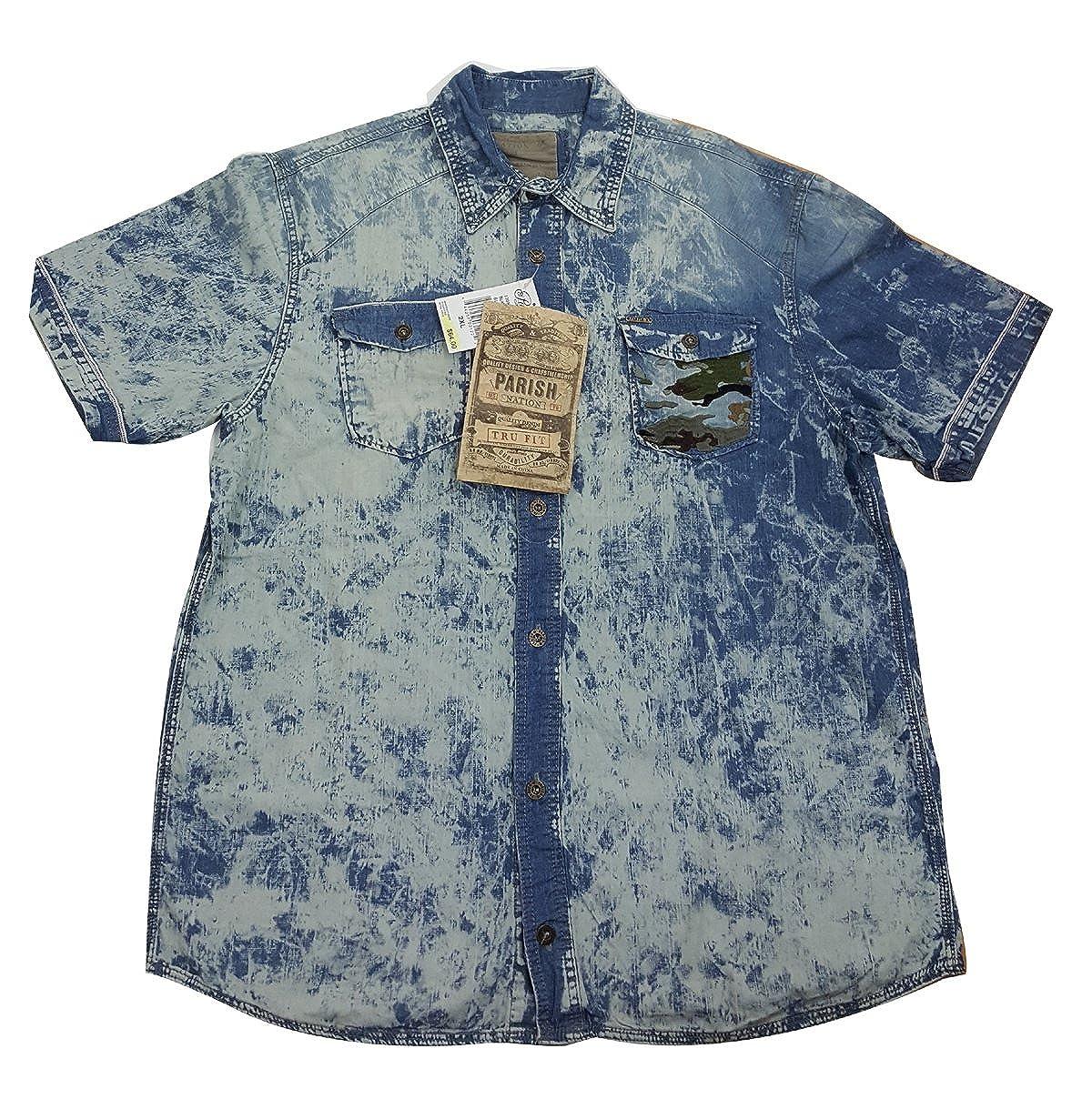 Wash Blue PARISH NATION Mens Short Sleeve Shirt 2XL
