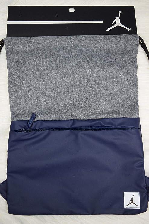 7dec9eb216 Amazon.com  Nike Air Jordan Hybrid Elite Sport Tote Drawstring Gym Sack  Book Bag Wolf Grey Navy Blue  Sports   Outdoors