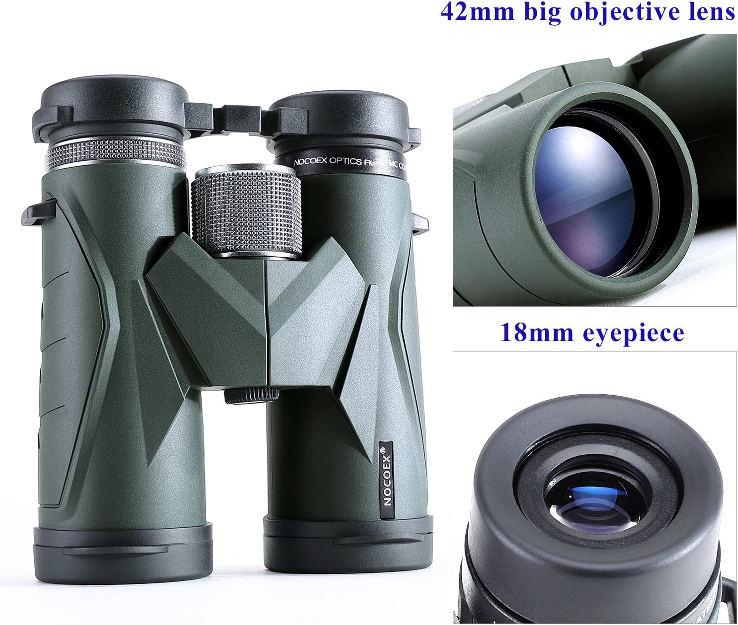 NOCOEX Jumelles Compactes Choix pour l/'Observation d/'Oiseaux Puissantes Convient pour Les Sports et Activit/és d/'ext/érieur Jeux Concerts Large Champ de Vision 10x42 Escalade