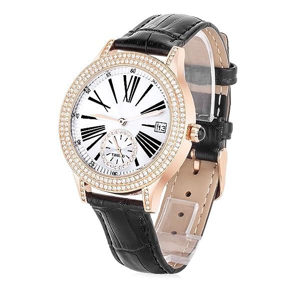 Time100 Reloj Cuarzo para Mujer Reloj Fino y Elegante de Esfera Grande con Diamantes para Mujeres