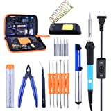 Soldering Iron Kit, Solder Iron Tool Kit 60W Soldering Iron Adjustable Temperature w\ ON/OFF Switch, Solder Sucker/Solder Stand/Soldering Iron Tips/Aid Tips/Tin Wire Tube/Tweezers/Scissors in Tool Bag