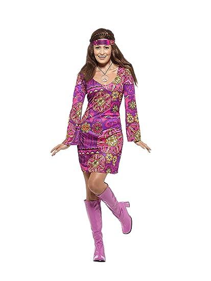 Kopftuch und Medaillon Kleid Smiffys 45519XS Gr/ö/ße: 32-34 Damen Woodstock Hippie Kost/üm mehrfarbig
