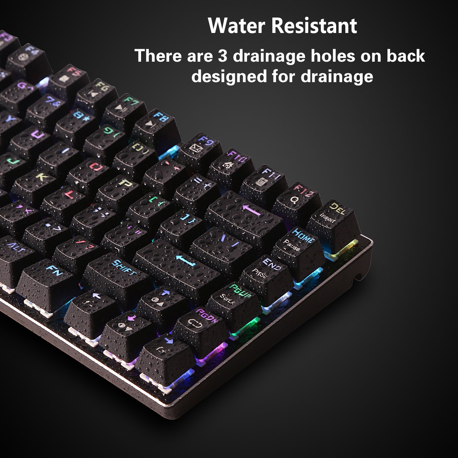 Black Compact 81 Keys Anti-Ghosting for Mac PC Water Resistant Blue Switch Tactile /& Clicky LED Backlit E-Element Z-88 RGB Mechanical Gaming Keyboard