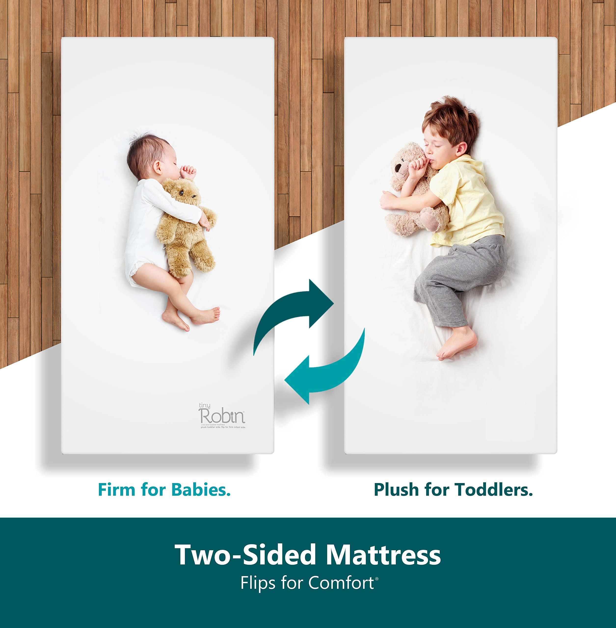 Moonlight Slumber Dual Sided Baby Crib Mattress. Firm Sided For Infants Reverse To Soft Side For Toddlers. Easy To Clean Waterproof And Odor Resistant. (Latest Version)