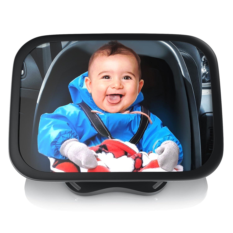 Aplic - Specchietto retrovisore per bambini su poggiatesta| Specchio per ovetto neonati | Specchio di sicurezza | Vista posteriore 24, 5x17, 5cm | supporto regolabile / forma universale | anti-schegge | tenuta salda | formato orizzontale o trasversale | or