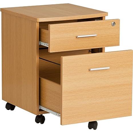 Piranha Trading Cajonera y archivador A4 con cerradura para despacho y oficina en casa melamina effecto