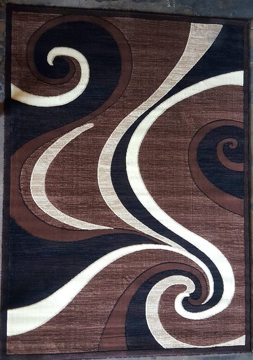 Americana Modern Area Rug Brown Contemporary Swirl Carpet King Design 144 (5 Feet 2 Inch X 7 Feet 3 Inch)
