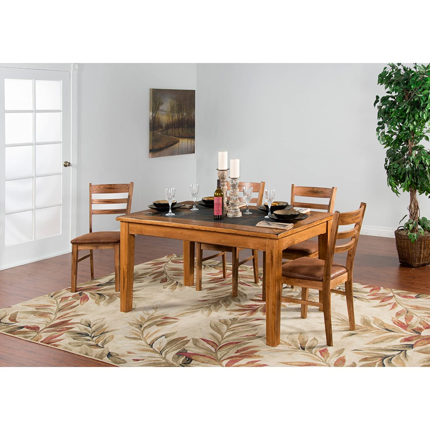 Amazon Com Sunny Designs Sedona Slate Dining Table In Rustic