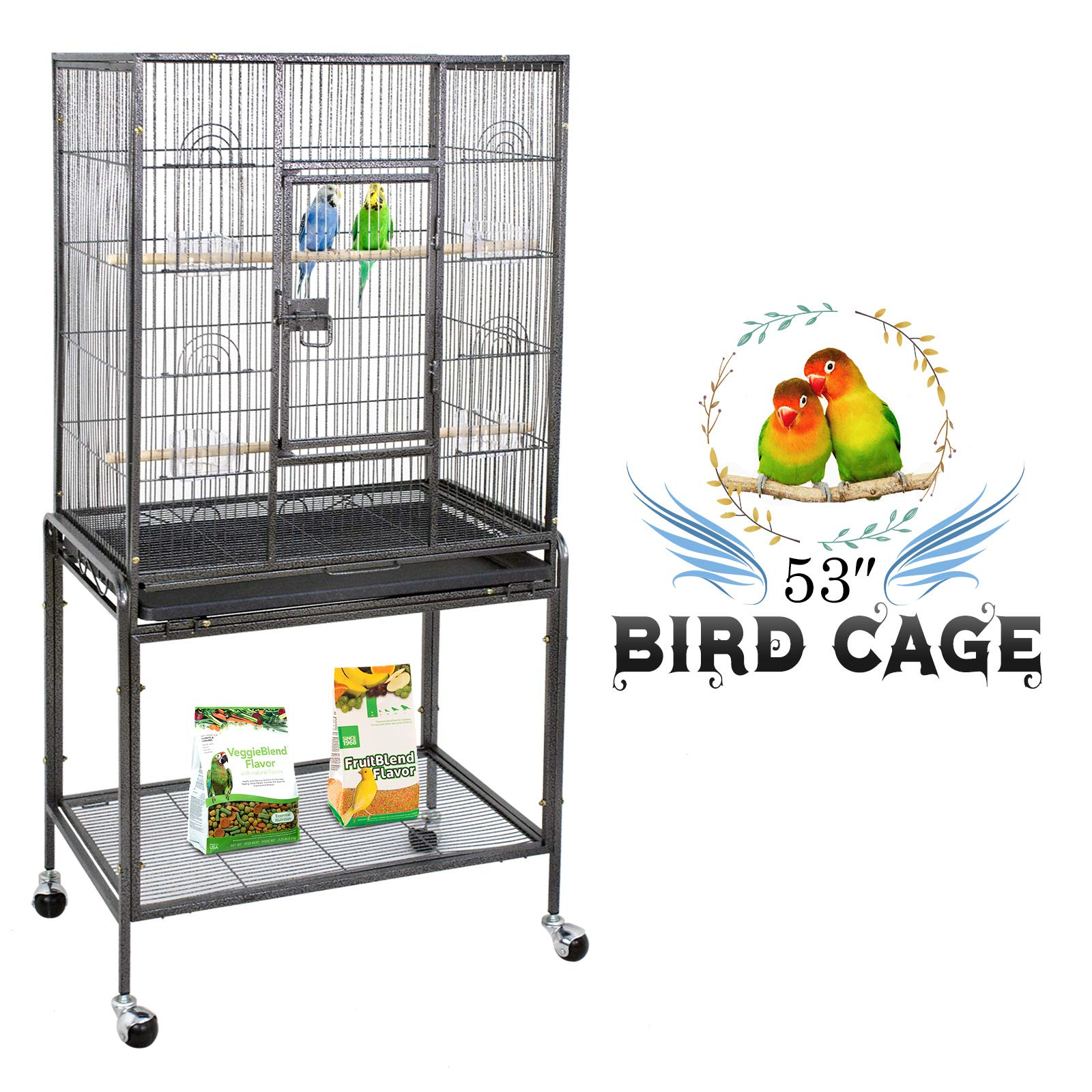 ZENY Bird Cage with Stand Wrought Iron Construction 53-Inch Pet Bird Cage Play Top Parrot Cockatiel Cockatoo Parakeet Finches Birdcage by ZENY