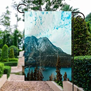 yyone Mountain Views of Emerald Bay in South Lake, Polyester Garden Flag House Banner 28 x 40 inch, Two Sided Welcome Yard Decoration Flag for Party, Home Decoration, Car