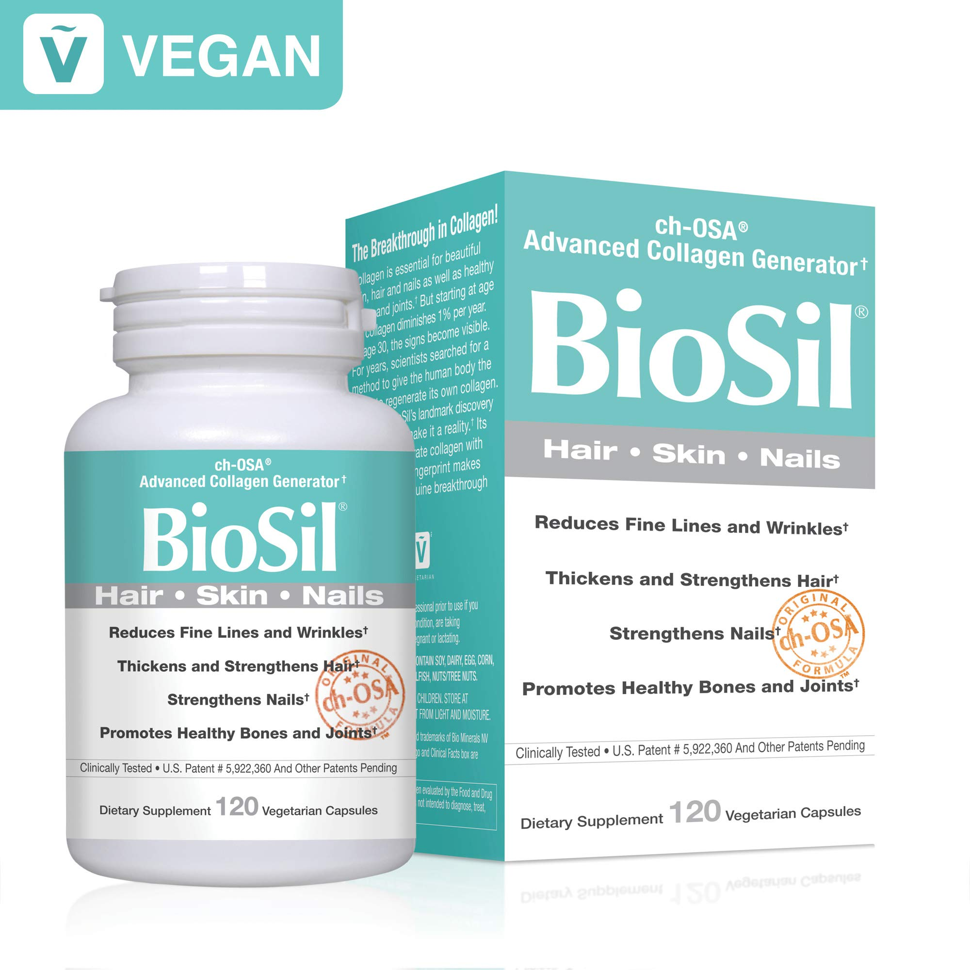 BioSil by Natural Factors, Hair, Skin, Nails, Supports Healthy Growth and Strength, Vegan Collagen, Elastin and Keratin Generator, 120 capsules (120 servings) (FFP) by Natural Factors (Image #1)