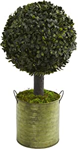 Nearly Natural Green, 1.5' Boxwood Ball Topiary Artificial Tree Tin