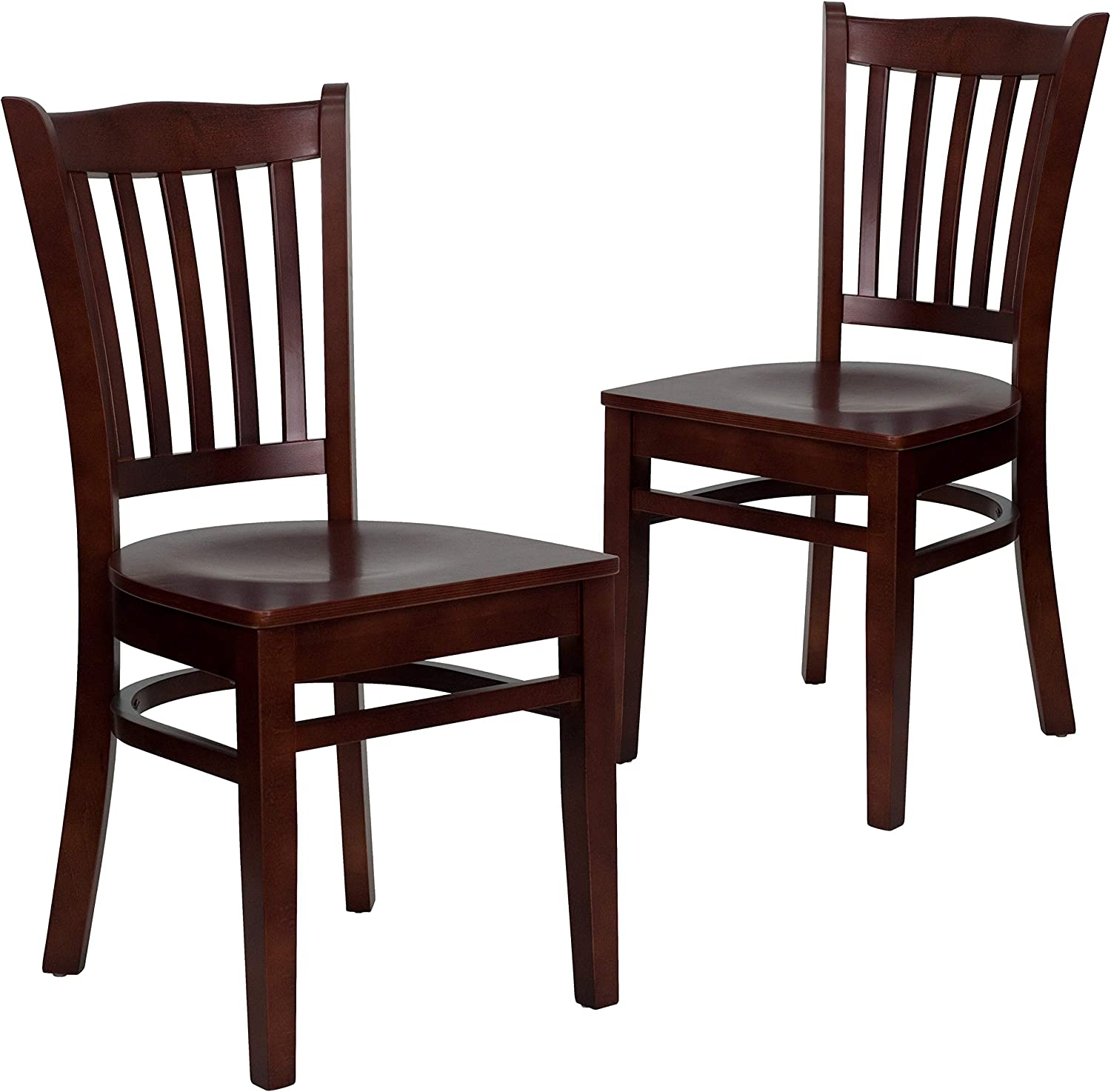 Flash Furniture 2 Pk. HERCULES Series Vertical Slat Back Mahogany Wood Restaurant Chair