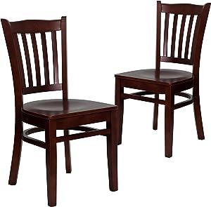 Flash Furniture 2 Pk. HERCULES Series Vertical Slat Back Mahogany Wood Restaurant Chair