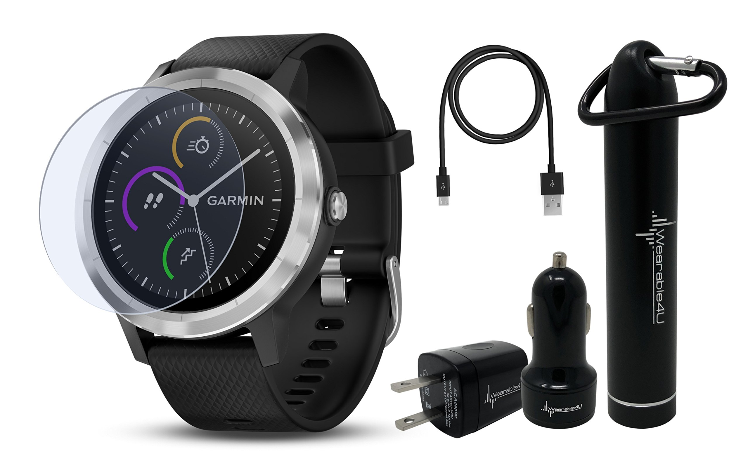 Garmin Vivoactive 3 GPS Smartwatch with Touchscreen Display and Contactless Payments Feature and Wrist-based Heart Rate and Wearable4U Ultimate Power Pack Bundle (Black/Stainless)