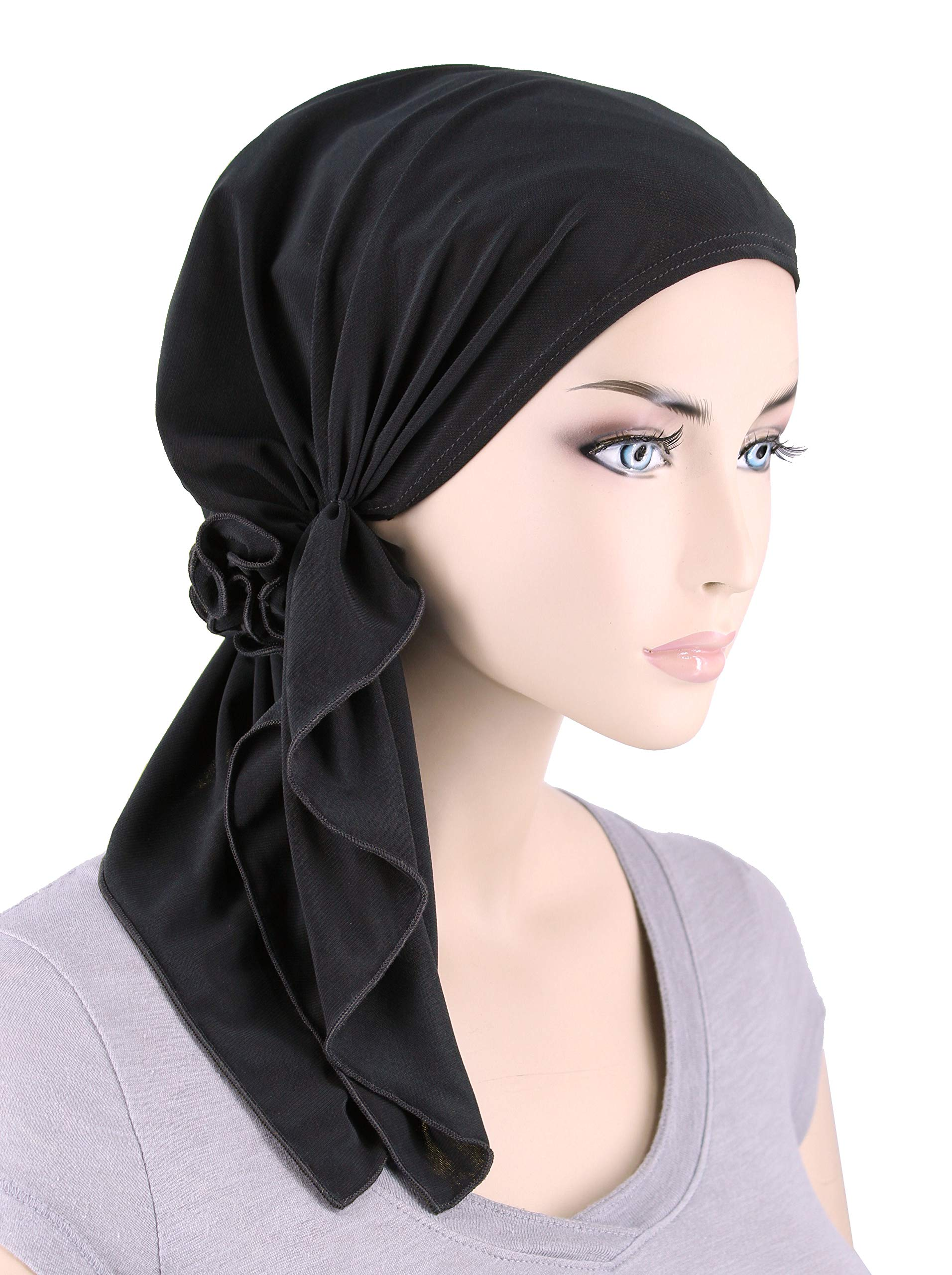 The Bella Scarf Chemo Turban Head Scarves Pre-Tied Bandana for Cancer Raven Black by Turban Plus (Image #1)