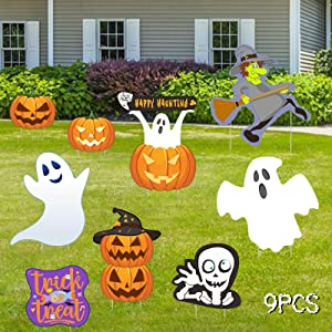 Halloween Yard Sign with Stakes,Trick or Treat, Witches,Pumpkin,Skeleton and Ghost,Large Size Halloween Decorations for Party Yard Lawn Decor Props, Scary Halloween Eve Decor Scary Theme Party 9 Pcs