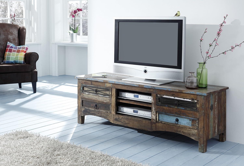WOLF muebles aparador con 4 cajones de madera multicolores reciclado al Himalaya H 150 x B 50 x T 45 cm varios colores metalizados - madera reciclada aspecto rústico moderno (madera maciza): Amazon.es: Hogar