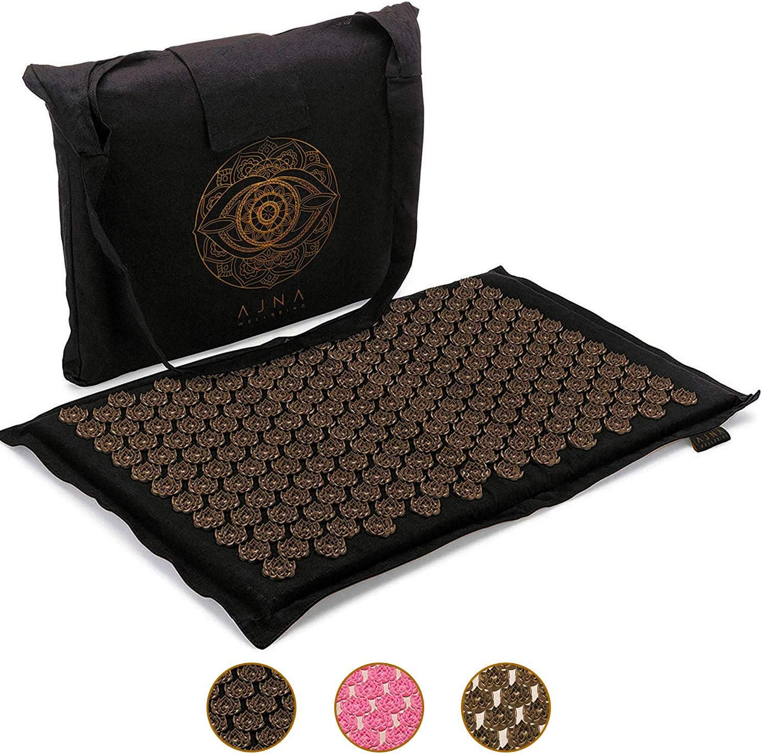 Acupressure Mat for Massage - Natural Cotton Acupuncture Mat & Bag (Midnight)