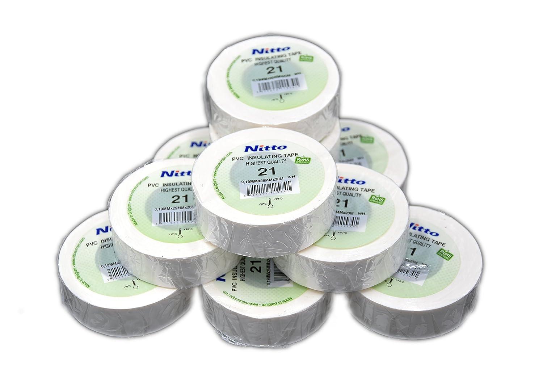 10 rolls 25 mm x 20 m Ruban adh/ésif NITTO PVC sans plomb pour isolation /électrique No.21 pour lisolation /électrique respectant lenvironnement