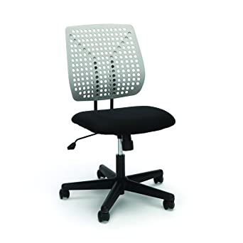 Essentials Plastic Back Task Chair   Armless Office Chair, Black/Gray (ESS