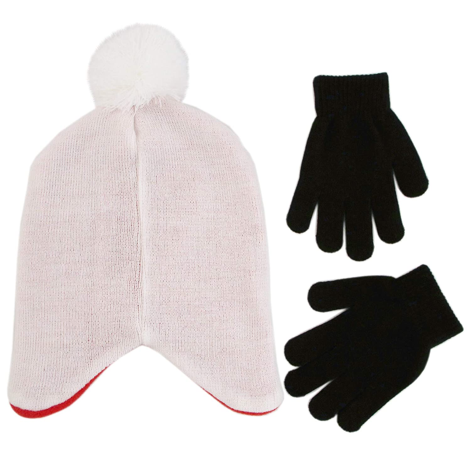 white//red//black Disney Boys Little Big Hero 6 Hat and Gloves Cold Weather Set Age 4-7