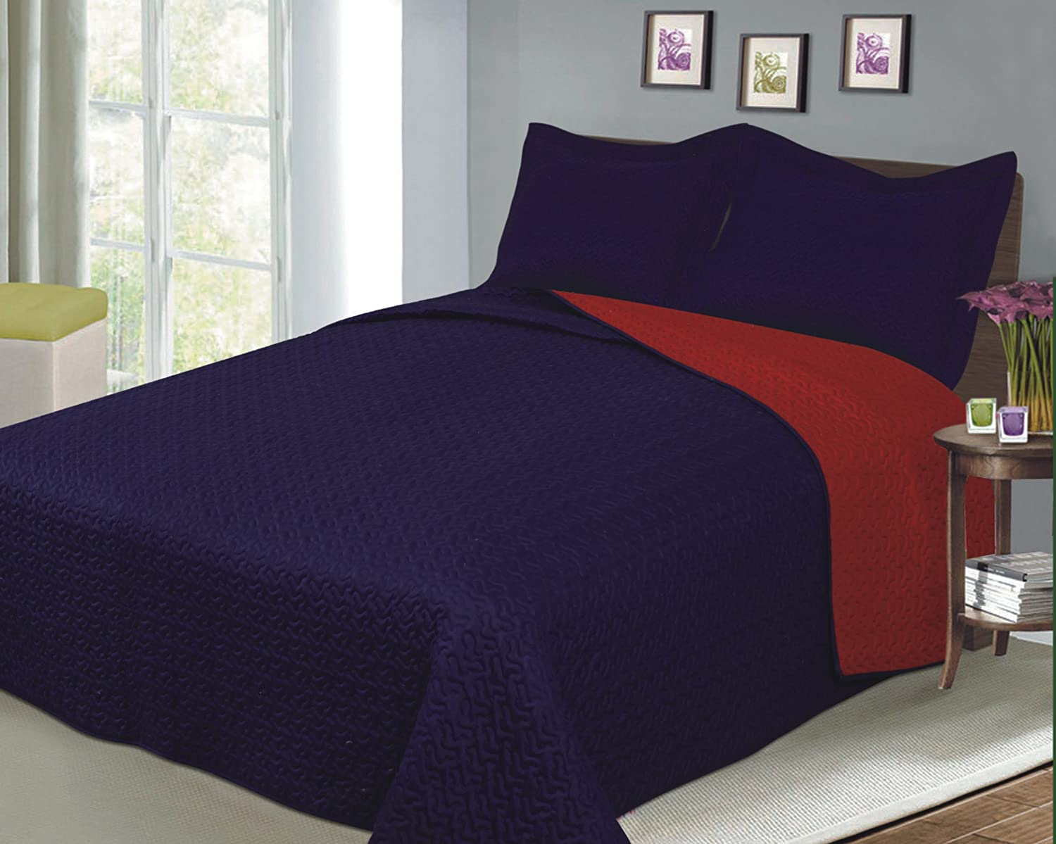 Luxury Fashionable Reversible Solid Color Mini Quilt Sets, Twin, Navy/Red