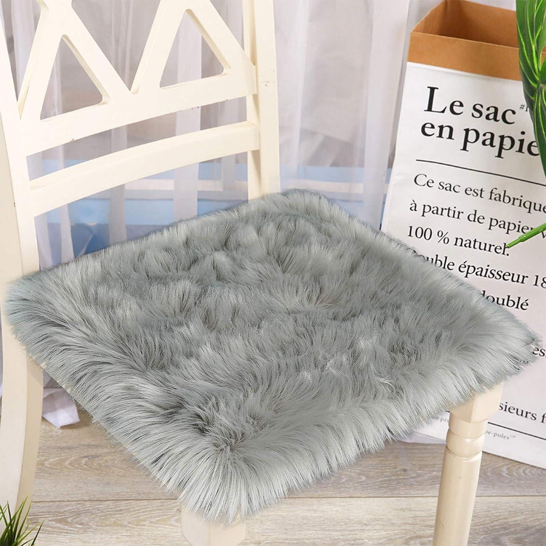 Junovo Premium Soft Square Faux Fur Seat Cushion Plush Sheepskin Chair Cover, 20 in x 20 in Grey