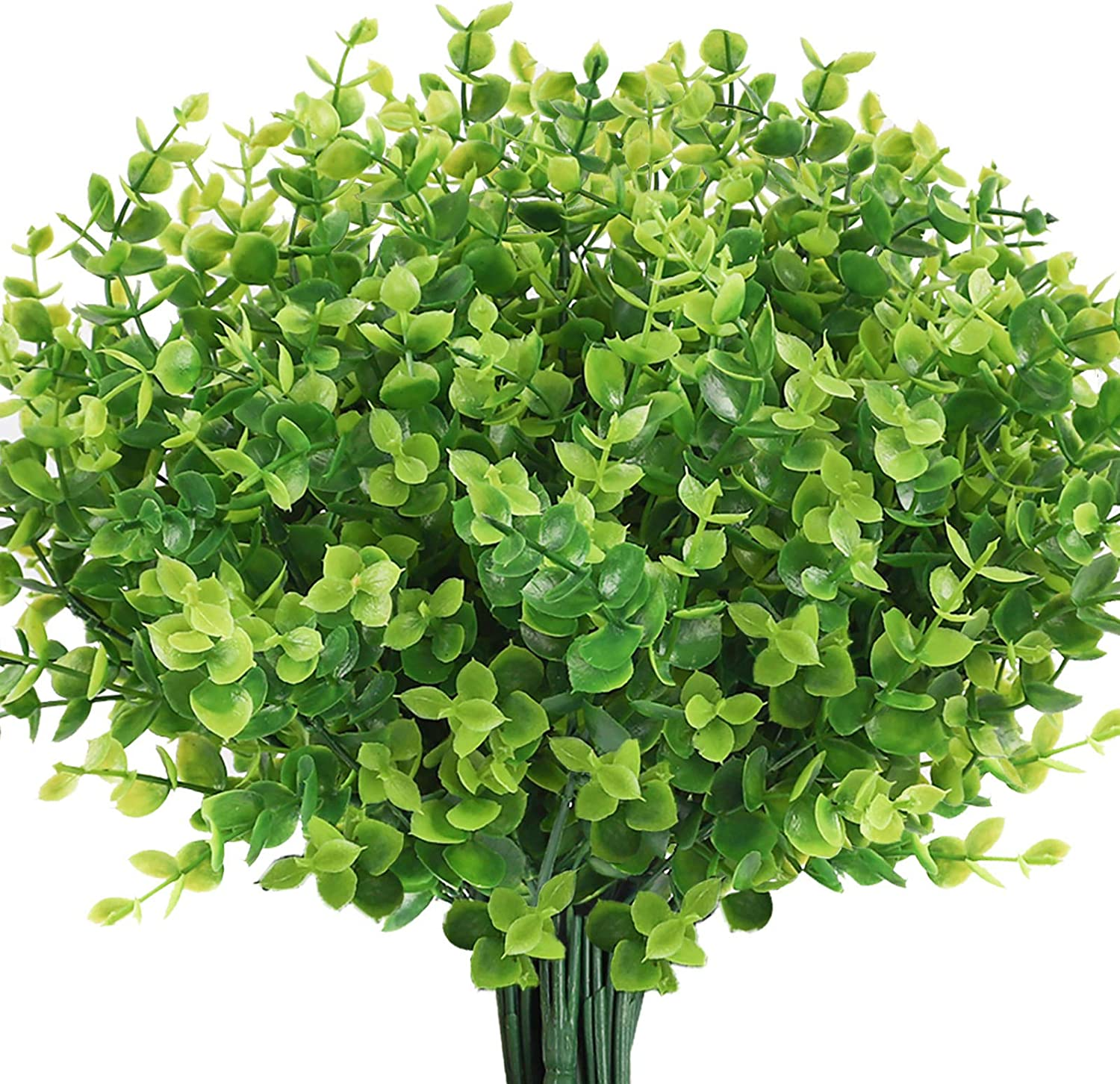 Teldrassil 8-Bunches Artificial Boxwood Stems Faux Plants Grass UV Resistant Fake Greenery Plastic Shrubs for Indoor Outdoor Window Home Garden Decoration