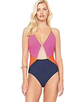 aebc575ec28 Gottex Maritime V Neck One Piece Swimsuit 18MA-064-084 at Amazon Women's  Clothing store: