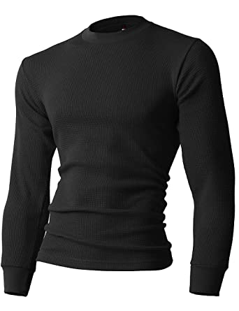 57724a18f Amazon.com: Mens Heavyweight Thermal Shirts Long Sleeve Cotton Crew ...